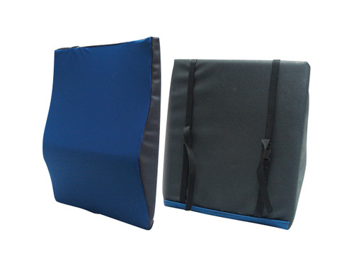 """Drive Medical General Use Lumbar Support 22""""W x 19""""H x 2.5""""D Cushion is made molded memory foam with a water resistant cloth cover and durable elastic straps."""