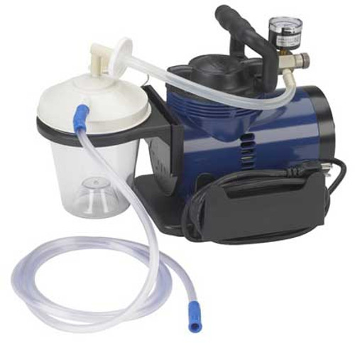 """The Drive Medical Heavy Duty Suction Pump Machine is a professional grade medical suctioning device that produces 560 mmHg of suction. Kit includes: 800 mL suction canister; 6' suction tube, 10"""" suction canister tubing, hydrophobic filter, plastic elbow connector and manual"""
