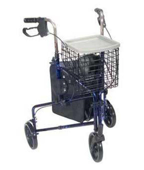 Drive Deluxe 3 Wheel Aluminum Rollator shown in Flame Blue.