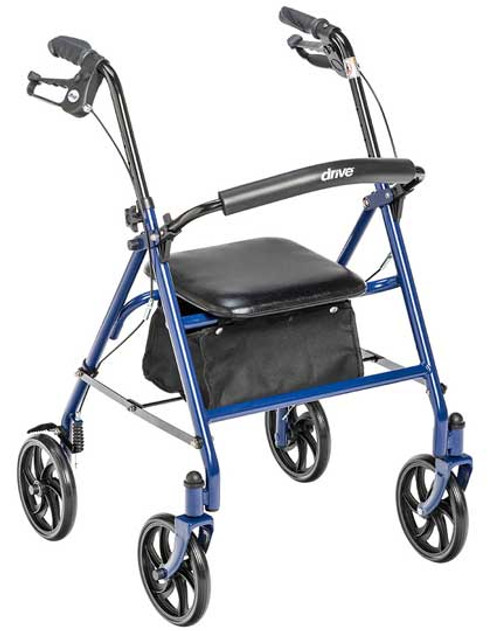 "Drive Steel Frame Walker Rollator - 31"" to 37"" Handle Height - Blue. Also available in Red."