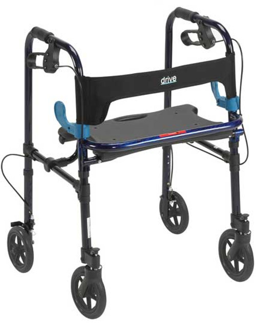 "Drive Clever-Lite Walker Rollator with Seat & Loop Locks - 8"" Casters"