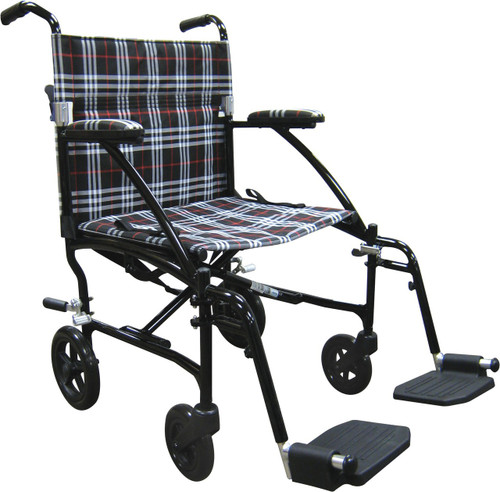 DFL19-BLK comes with Black Frame and Black/White/Red Plaid Upholstery