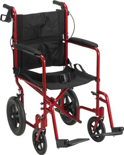 """Although the Expedition 19"""" Aluminum Transport Chair by Drive Medical weighs only 19 pounds, it supports up to 300 lbs. Shown in Red, SKU EXP19LTRD."""