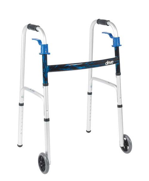 """The Deluxe Trigger Release Folding Walker with 5"""" Wheels by Drive Medical has a composite trigger release mechanism that closes the walker without the hands ever leaving the soft, contoured grips of the walker. Made of lightweight aluminum, the walker comes with 5"""" casters, rear glide caps and glide covers."""