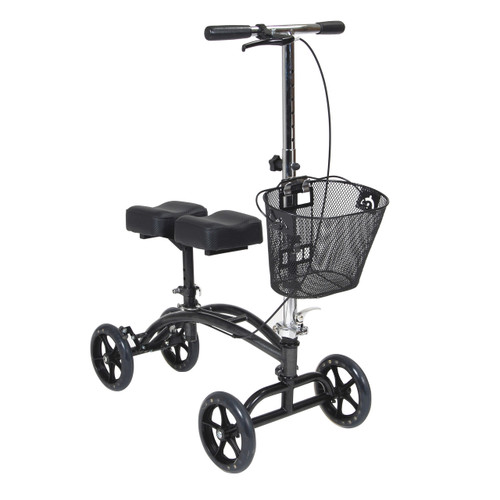 """Drive Dual Pad Steerable Knee Walker with 8"""" Casters & Removable Basket"""
