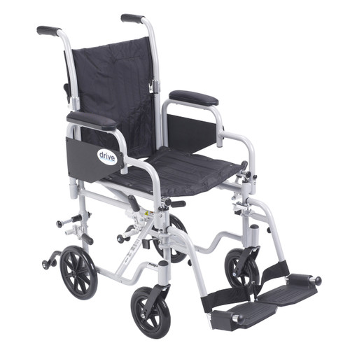 """The Drive Poly-Fly Lightweight Wheelchair/Transport Chair Combo features quick release 24"""" wheels that can easily transition into a self-propelled transport chair. Shown with the larger 24"""" wheels removed."""
