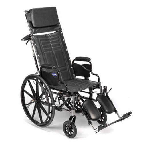 "Invacare's Tracer SX5 Recliner wheelchair features a carbon steel frame, a heavy-duty inner liner to keep the seat and back from stretching and urethane rear tires mounted on ""no flex"" wheels. Recline range is 90 to 110 degrees. Built to last with a dual-axle for conversion to hemi-height. Available with seat dimensions 18""W by 16""D or 16""W by 16""D."