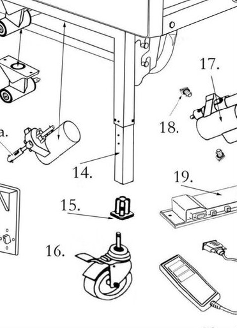 Diagram number 14. This part does not include part 15 (Caster Receptacle 15300EC) or part 16 (Caster with Lock 15300CL).