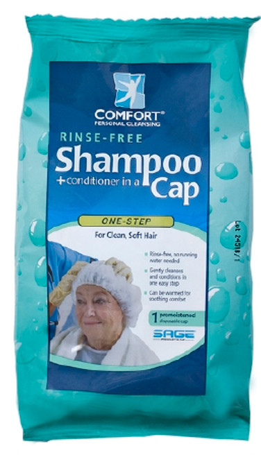 Sage's Comfort Bath Rinse-free Shampoo Cap is a complete one-step hair care system in a convenient, microwavable cap. This bathing aid thoroughly shampoos and conditions hair without water in one easy step.