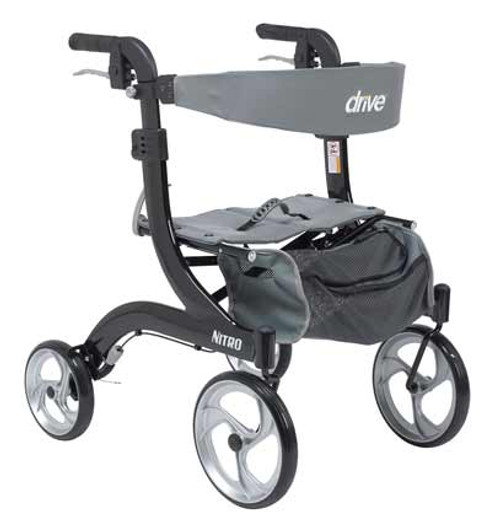 "The Drive Medical Nitro Rollator Hemi RTL10266-H is made specifically for users 5' 2"" and below. This innovative new rollator is sporty and stylish. But besides its great Euro-style looks, it's also lightweight, sturdy, and ultra easy and convenient to use and store. (shown in Black RTL10266BK-H)"