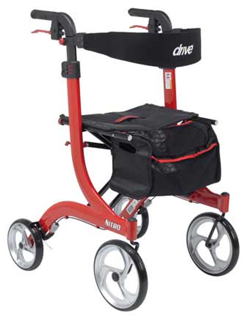 "Drive Medical Nitro Rollator Tall - Made for Users 6' 0"" and Taller - Red"