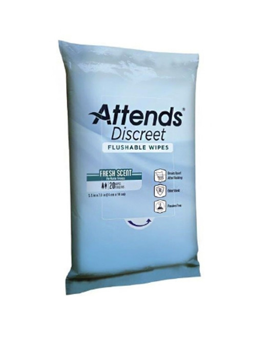Attends Discreet Flushable Wipes
