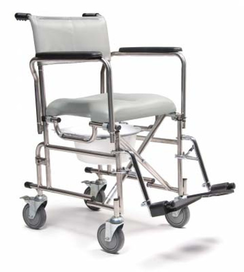 "The Lumex Folding Rehab Shower Commode with 5"" Rear Locking Casters can be used as a bedside commode or for use over an existing commode. This model conveniently folds for easy transport."