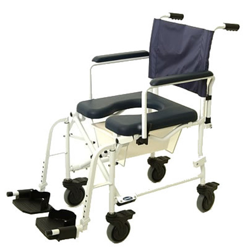 "The Invacare Mariner Rehab Shower Commode Chair 6891 with 18"" seat with 5"" Casters offers an aluminum frame and stainless steel hardware that are rust-resistant, making the Mariner ideal for use in the shower."