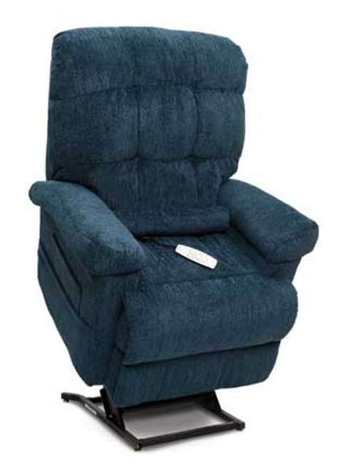 The LC-580iM Infinity Position Chaise Lounger is available in four standard Saratoga  fabric options (Cashmere, Charcoal, Eggplant, Godiva and Navy), plus Crypton Aria, Lexis Sta-Kleen and Ultraleather upholstery upgrade options.  Shown in Saratoga Navy upholstery.