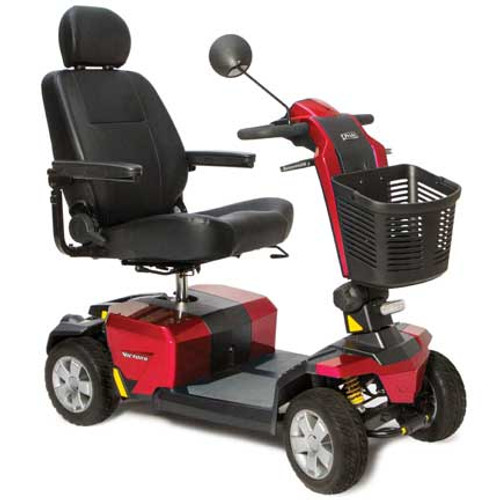 The Victory LX Sport S710LXW with CTS suspension 4-Wheel Scooter by Pride Mobility is the latest in comfort and convenience! It incorporates advanced technology and offers many built-in upgrades. (Shown in Candy Apple Red)