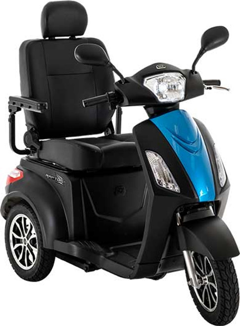 The Raptor 3-Wheel Scooter R3-1700MB1001 is Pride Mobility's fastest scooter to date. Featuring a solid, sleek design; it offers enhanced stability and speeds up to 14 mph.