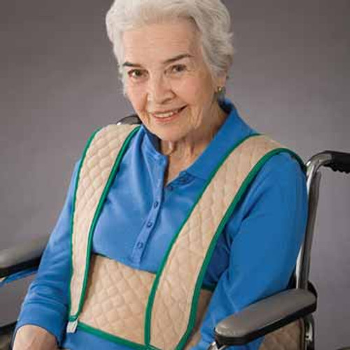 Posey Torso Support provides support around the chest and over the shoulders to help prevent leaning and forward sliding in wheelchairs, power wheelchairs and geri chair recliners.