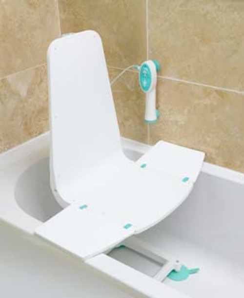 """The Splash Bath Lift by Lumex blends discreetly into any bathroom environment. Battery powered with an adjustable seat height range of 2.8"""" low to 18.1"""" high, the Splash is a welcome assistant to maintaining bath independence."""