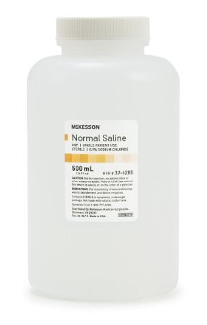 McKesson Normal Saline Irrigation Solution is made of 0.9% strength Sodium Chloride solution for moistening wound dressings, wound debridement, and device irrigation. 500 mL Bottle or Case of 18.
