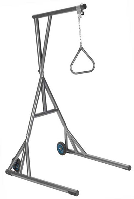 This Free-Standing Silvery Vein Trapeze with Wheels 13039SV from Drive Medical is designed to assist larger individuals with changing positions while in bed, as well as assist with transfers from bed to chairs. The 13039SV is unique in that it includes wheels to make positioning the trapeze easy to position and relocate.