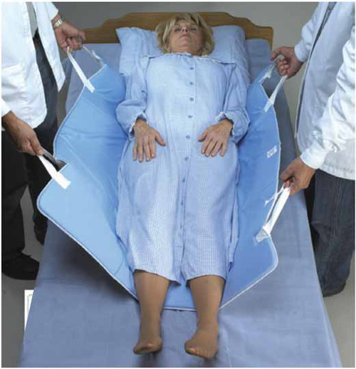 Skil-Care In-Bed Positioning Pad with handles helps caregivers position, roll, turn, and move-up patients in bed more easily and safely. Convenient strong web handles offer a secure grip can be used by one or two caregivers.