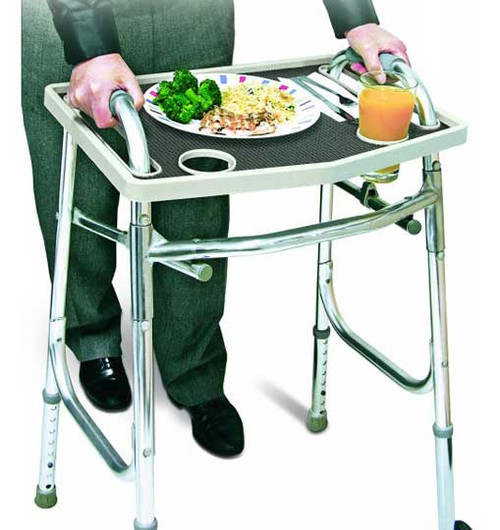 Jobar's Walker Tray with Non-Slip Grip Mat is convenient and a super easy add-on to any standard walker. Turns your favorite walker into a TV/Transport tray.