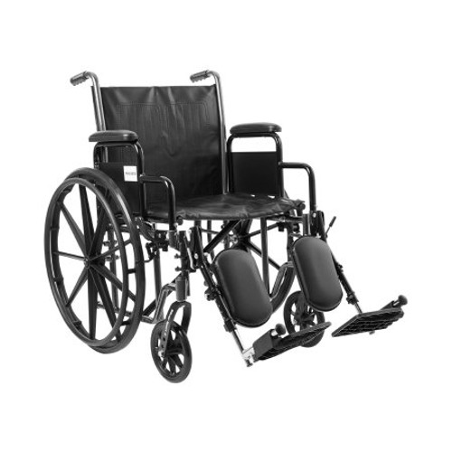 """McKesson Wheelchair with 20""""W seat and padded removable desk length arms is available in front rigging configurations, comes in an attractive, easy to maintain, powder coated, silver vein finish, and a steel frame for durability."""