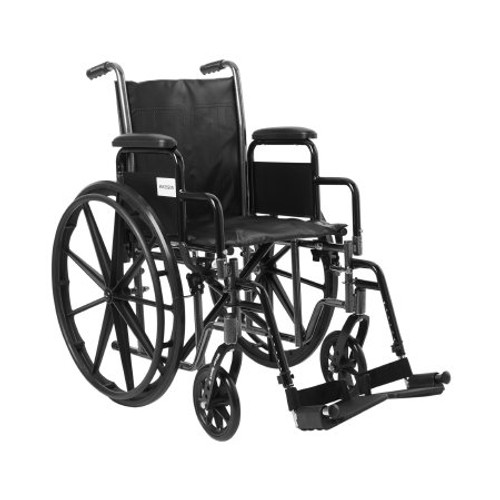 """McKesson's Wheelchairs with 16"""" or 18"""" width seat options include Removable Desk Length Arms for easy use at desk or tables. Options of Swing-away Footrest or Elevating/Swing-away Legrests."""