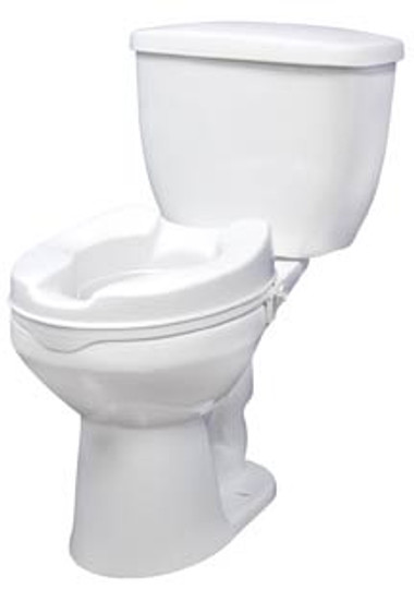 """Raised Standard Toilet Seat with Lock - 4"""" or 6"""" Height, 400 lbs Capacity (toilet not included)"""