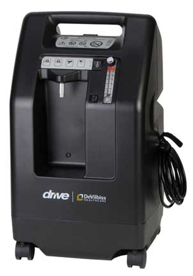 The Drive DeVilbiss 525DS 5 LPM oxygen concentrator is a budget savor, durable, and quiet (standard unit shown). Also available in an Ultra-Quiet 525DS-Q model.