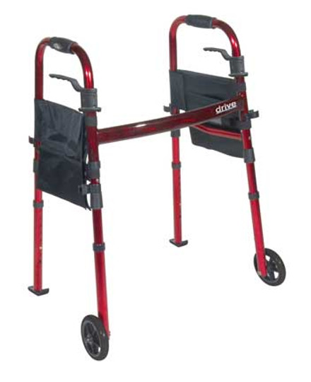 "The Portable Folding Travel Walker offers 5"" wheels and fold up legs with a 29.5"" to 37"" adjustable handle height."
