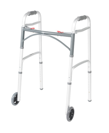 """Drive's Deluxe Two-Button Folding Walker allows for convenient folding, is easy to navigate through narrow spaces, and comes with 5"""" Wheels."""