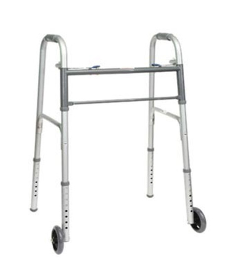 """ProBasics Youth Two-Button Folding Walker with 5"""" wheels is perfect for users 4' 4"""" to 5' 7"""" in height."""