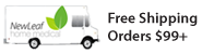 White rectangle banner with illustration of a NewLeaf delivery truck, and black text stating Free Shipping on Orders over $99.