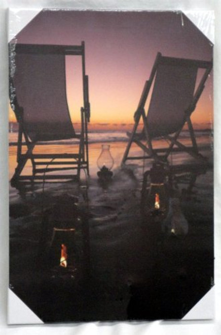 Beach Scene Canvas with LED Lights #14331