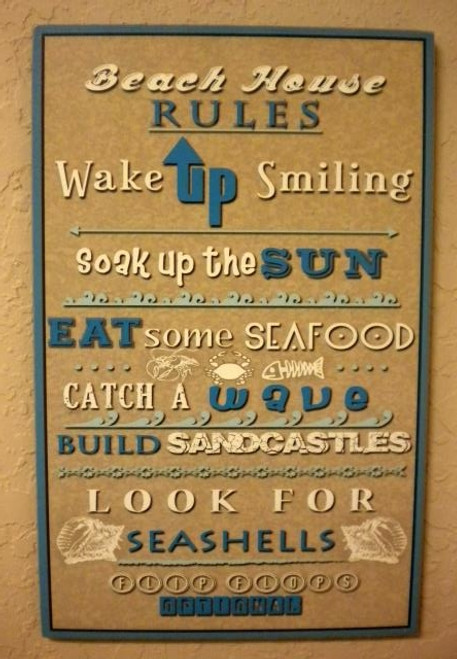 Beach House Rules Sign  Nautical Seasons