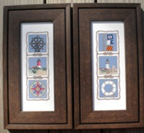 Beach Boat Life Ring Ships Wheel Set of 2 Wall Pictures #4365