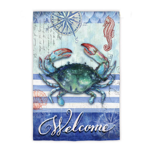 Crab Welcome Nautical Garden Flag #15138