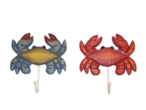 Red Steamed Crab &  Blue Wooden Crab Wall Hooks Set of 2 #7604