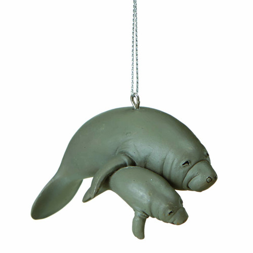 Manatee Ornament with Baby Manatee Nautical Seasons