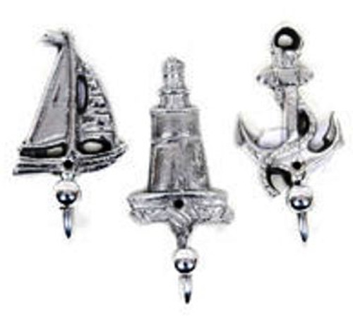 Nautical Sailboat, Lighthouse & Anchor Hooks Set of 3 #2315
