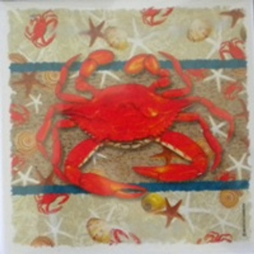 Red Crab Coasters Set of 4  Nautical Seasons
