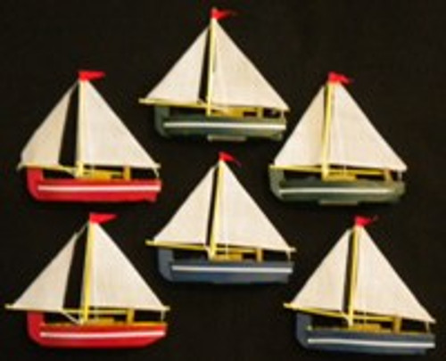 Wooden Sailboats Set of 6 #2406