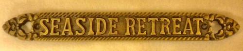 Seaside Retreat Brass Sign  Nautical Seasons