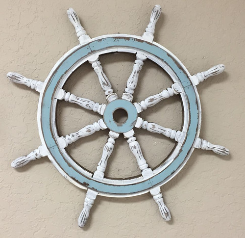Washed Ships Wheel Shabby chic  Nautical Seasons