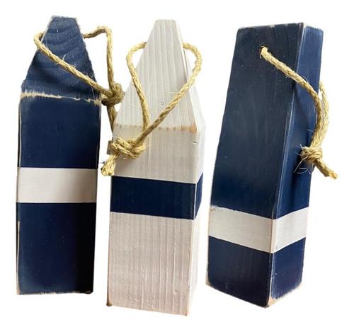 Vintage Style Blue Buoys Set of 3  Nautical Seasons