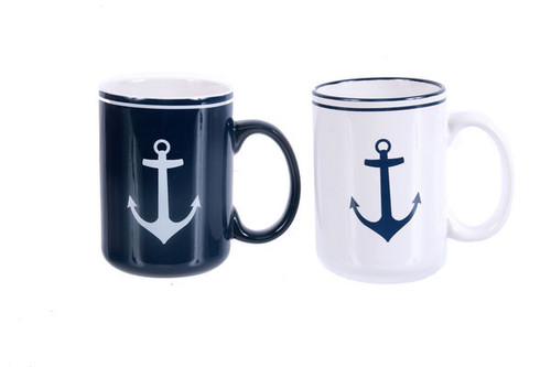 Anchor Mugs Set of 2 Navy & White 15451 Nautical Seasons