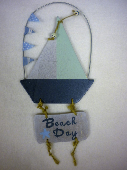 Wood Sailboat Ornament Nautical Seasons
