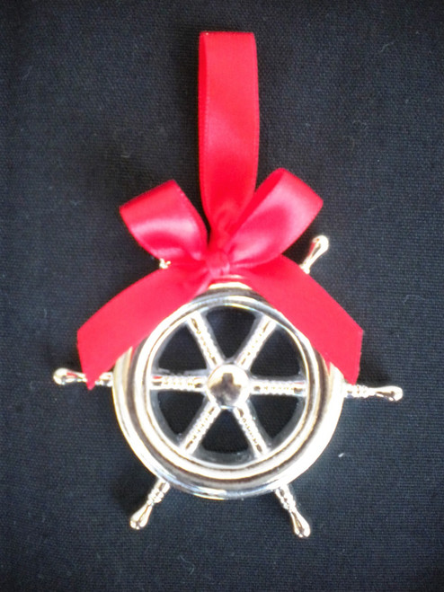 Silver Ships Wheel Ornament Nautical Seasons